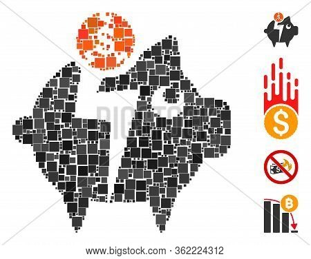 Mosaic Piggy Bankruptcy Icon United From Square Items In Different Sizes And Color Hues. Vector Squa