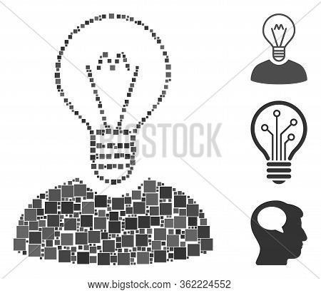 Mosaic Bulb Inventor Icon United From Square Items In Variable Sizes And Color Hues. Vector Square I