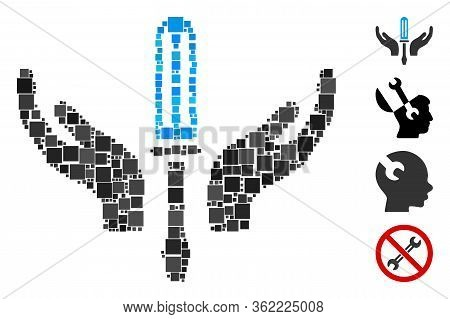 Collage Tuning Screwdriver Maintenance Icon Composed Of Square Elements In Variable Sizes And Color