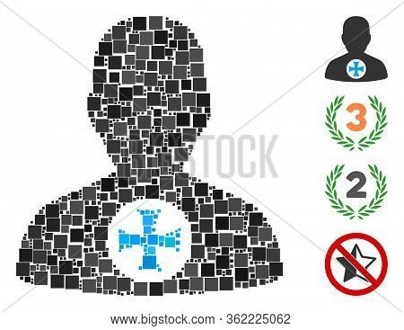 Mosaic Hero Medal Icon Designed From Square Items In Different Sizes And Color Hues. Vector Square I