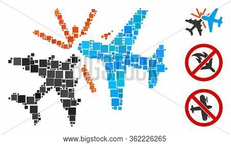 Mosaic Airplane Collision Icon Organized From Square Elements In Random Sizes And Color Hues. Vector