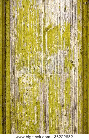 Old Wooden Board With Flaked Green Paint