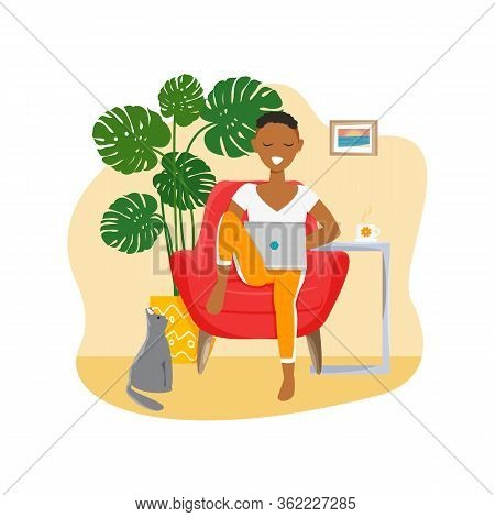 Vector Illustration Of African Girl Is Freelancer. Handsome Woman Is Working In Laptop At Home. Fema