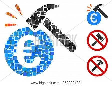 Collage Euro Hammer Strike Icon United From Square Items In Various Sizes And Color Hues. Vector Squ
