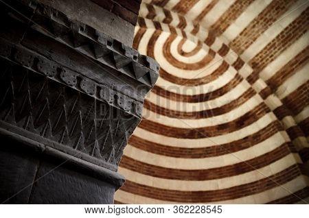 Albugnano, Italy - July 24, 2016 - Romanesque Capital In The Abbey Of Santa Maria Di Vezzolano, In A