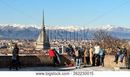 Turin, Italy - January 15, 2017: Winter Panorama Of Turin (piedmont, Italy) From Mount Cappuccini, W