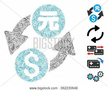 Hatch Mosaic Dollar Yuan Exchange Icon United From Narrow Items In Random Sizes And Color Hues. Vect