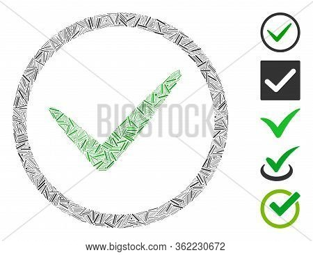 Hatch Mosaic Ok Tick Icon United From Narrow Elements In Variable Sizes And Color Hues. Vector Linea