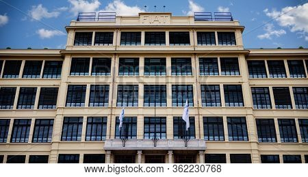 Turin, Italy - March 26, 2017: Facade Of The Lingotto Building, Historical Directional Center Of Fia