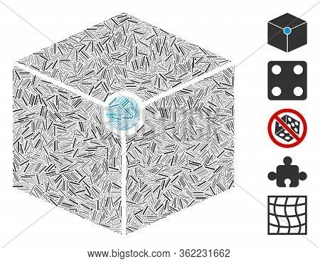 Line Collage Cube Vertex Icon Composed Of Thin Items In Various Sizes And Color Hues. Vector Line It