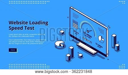 Website Loading Speed Test Banner. Fast Download Of Web Page. Vector Landing Page Of Internet Loadin