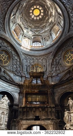 Turin, Italy - March 7, 2019: View Of The Holy Shroud Chapel Inside The Cathedral Of Turin, Restored
