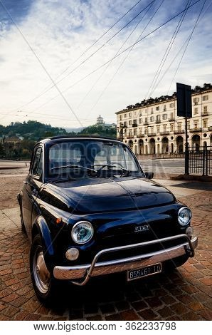 Turin, Italy - September 24, 2017 - Old Blue Fiat 500 During A Classic Car Rally In Vittorio Veneto