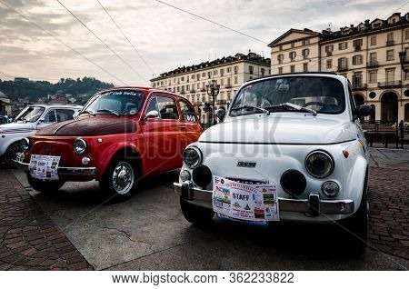 Turin, Italy - September 24, 2017 - Two Old Fiat 500 During A Classic Car Rally In Vittorio Veneto S