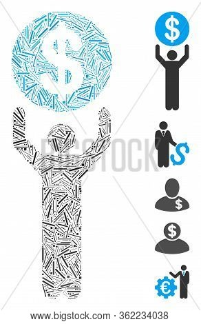 Line Mosaic Banker Icon Designed From Straight Items In Different Sizes And Color Hues. Vector Linea