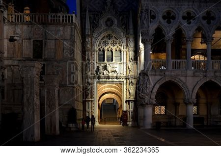 Venice - May 22, 2016 - Entrace Of Palazzo Ducale In Venice At Night, On May 22, 2016. Palazzo Ducal