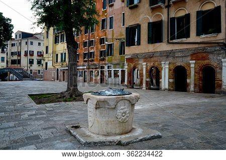 Venice, Main Square Of Ghetto Novo, Antique Jewish District Of The City