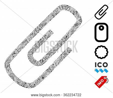 Line Mosaic Attach Icon Organized From Narrow Items In Random Sizes And Color Hues. Vector Line Item