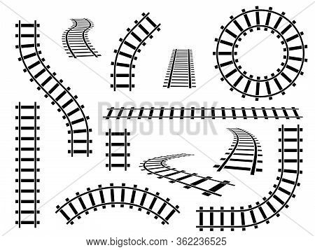 Railroad Tracks. Straight, Wavy And Curved Rails Railway Top View, Ladder Elements. Steel Bars Laid,