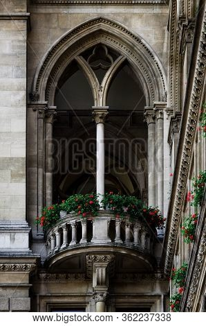 The Wiener Rathaus (vienna City Hall, Austria), Detail Of The Windows And Balcony
