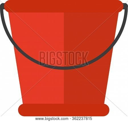 Vector Illustration Realistic Red Plastic Bucket With A Black Handle And An Inscription. Isolated Wh