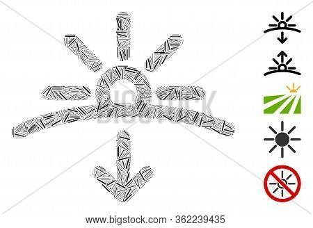 Line Collage Sunset Icon Constructed From Narrow Items In Various Sizes And Color Hues. Vector Line