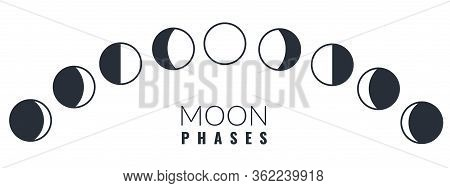 Moon Phases. Different Phases Moon Illustration, Waxing Crescent Lunar Astronomy Calendar, Astrology