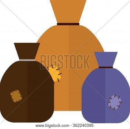 Three Sacks. Vector Illustration. Canvas Sacks. Eps 10