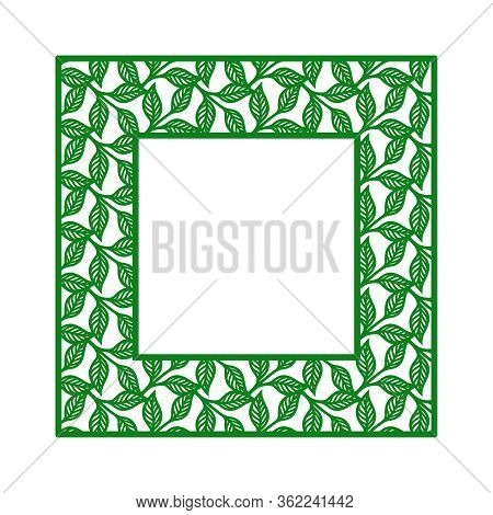 Square Photo Frame With A Pattern Of Twigs And Leaves. Green Border On A White Background. Vector De