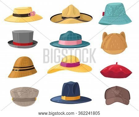 Man And Woman Hats. Fashion Headwear For Ladies And Gentlemen, Vintage And Classic Headdress Beret,