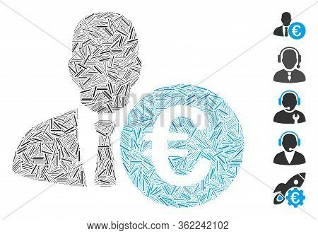 Line Collage Euro Banker Icon Designed From Narrow Items In Random Sizes And Color Hues. Vector Hatc