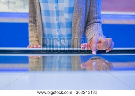 Education, Entertainment, Learning, Technology Concept - Close Up View Of Woman Hand Using Interacti