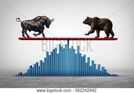 Investing Balance As A Business See Saw And Economic Stock Market Or Bull And Bear Economy On A See