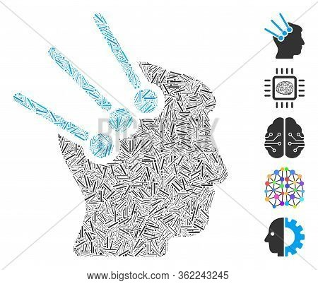 Linear Collage Neural Interface Connectors Icon Composed Of Narrow Items In Random Sizes And Color H