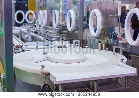 Pharmaceutical Industry, Manufacturing, Medicine And Automated Pharma Technology Equipment Concept -