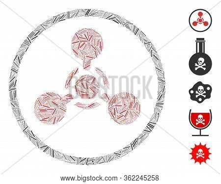 Linear Mosaic Wmd Nerve Agent Chemical Warfare Icon Organized From Narrow Elements In Various Sizes