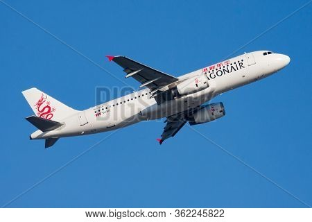 Hong Kong / China - December 1, 2013: Dragonair Airbus A320 B-hsr Passenger Plane Departure And Take