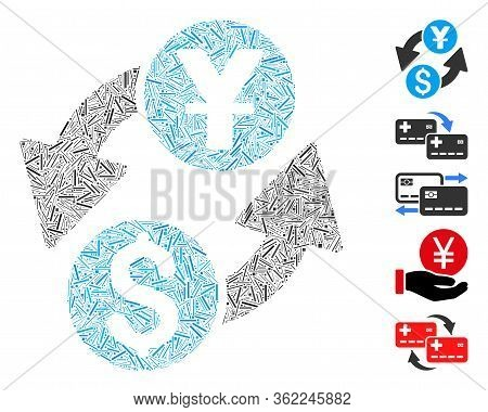Linear Mosaic Dollar Yuan Exchange Icon Composed Of Straight Items In Random Sizes And Color Hues. V