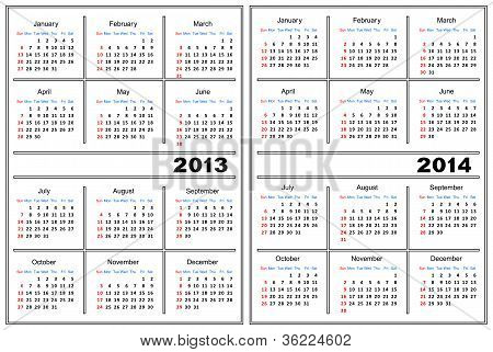 Calendar Template. 2013,2014