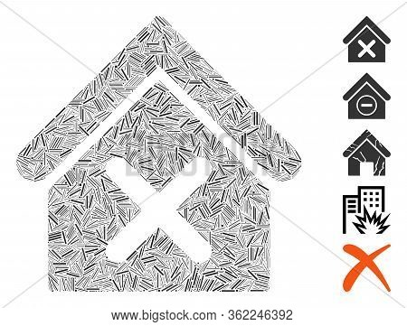 Hatch Mosaic Wrong House Icon United From Straight Items In Random Sizes And Color Hues. Vector Hatc