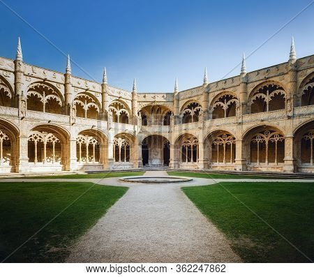 Lisbon, Portugal - February 3, 2019: Cloister Of The Jeronimos Monastery In Belem, Lisbon, Portugal,