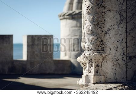 Traditional Portuguese Ancient Manueline Late Gothic Floral Pattern Decoration  On A Castle Wall Wit