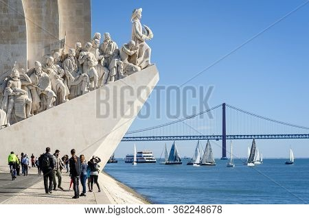 Lisbon, Portugal - February 3, 2019: Padrao Dos Descobrimentos, Monument To Portuguese Discoveries I