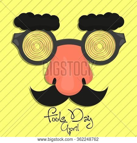 April Fool Day Card With A Joke Mask - Vector