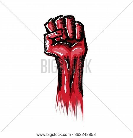 Vectro Red Fist Isolated On White Background. 1 May Labor Day Concept Illustration With Hand Drawn D
