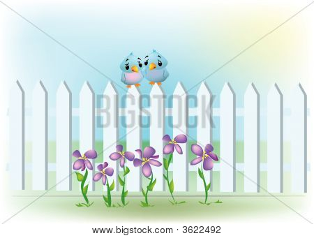 a white picket fence with a couple of birdies and flowers. poster