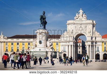 Lisbon, Portugal - February 6, 2019: Classic View Of Praca Do Comercio, Main Square Of Lisbon, Portu