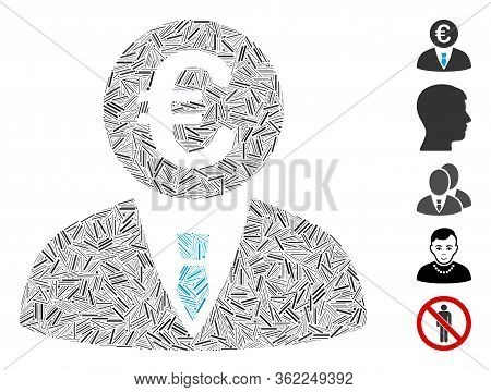 Linear Collage Euro Clerk Icon Organized From Thin Items In Various Sizes And Color Hues. Vector Hat