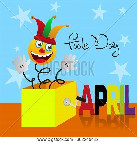 April Fool Day Card With A Joke Box - Vector
