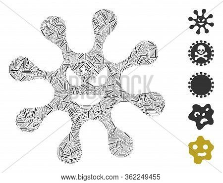 Line Collage Evil Bacteria Icon Organized From Narrow Items In Random Sizes And Color Hues. Vector H